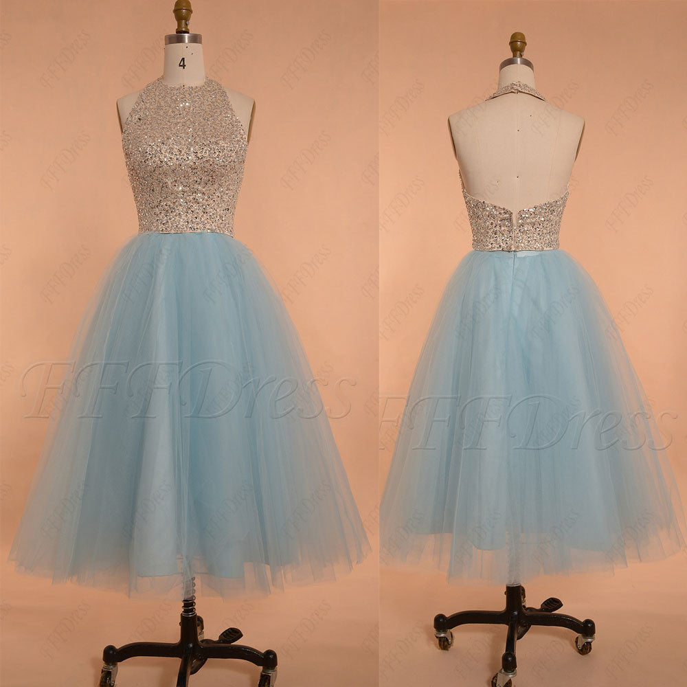Light blue beaded halter prom dress tea length