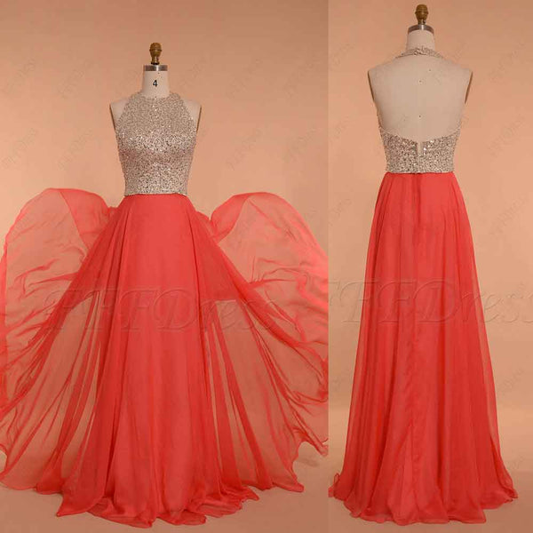 Halter Beaded Coral Prom Dresses long