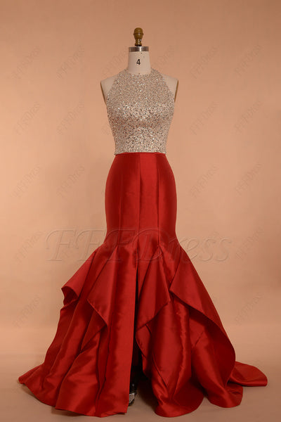 Halter Beaded Backless Red Mermaid Prom Dress