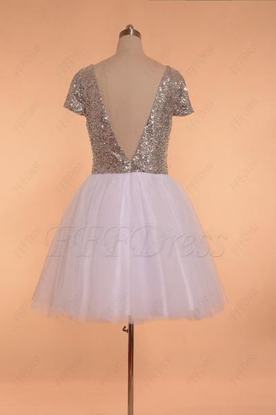 Silver sequins white backless short prom dress with sleeves