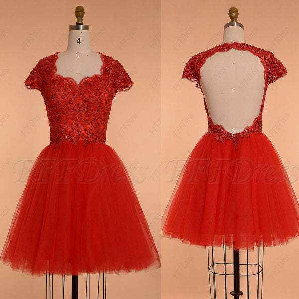 Red backless short prom dresses cap sleeves