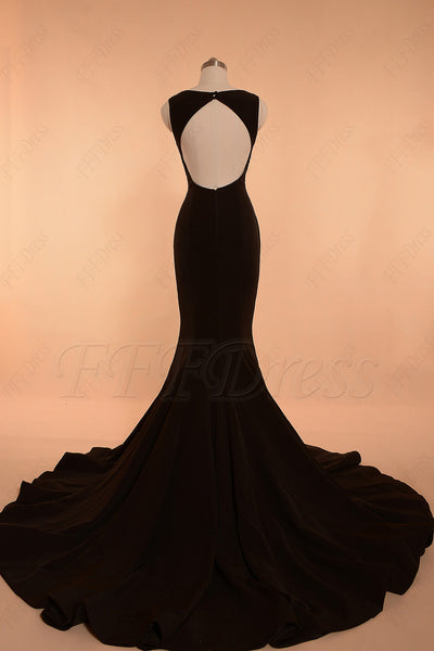 Black backless mermaid prom dress with slit