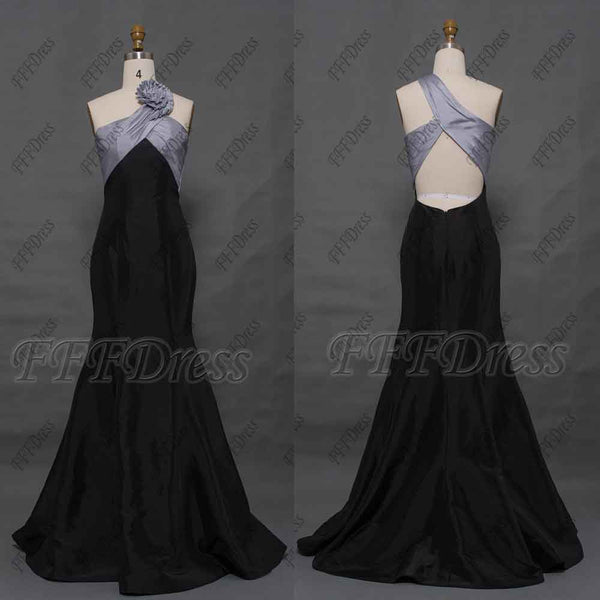 Mermaid black cut out prom dresses long
