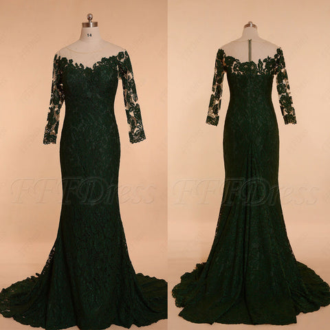 Dark green mermaid off the shoulder lace prom dresses long sleeves