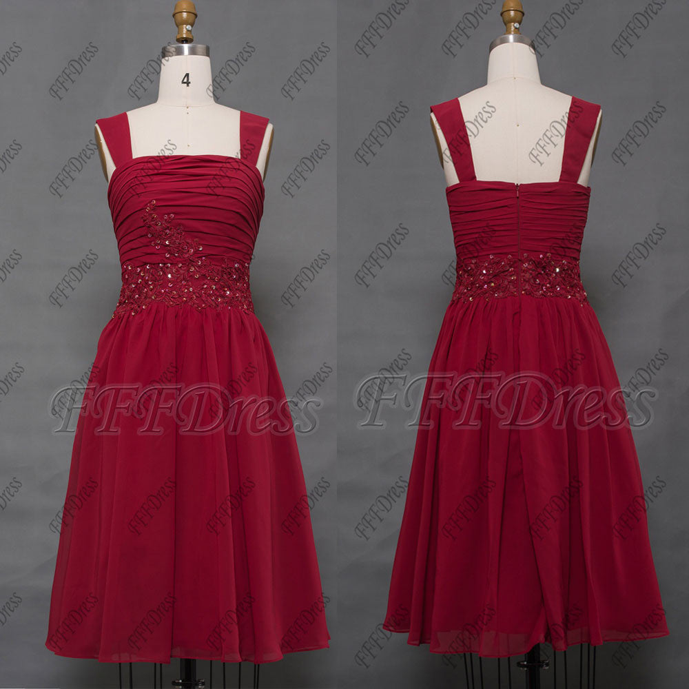 Short Burgundy bridesmaid dresses with straps