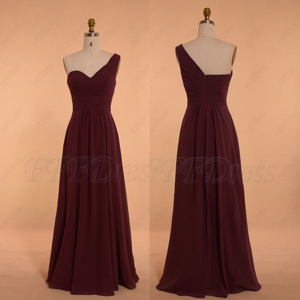 One Shoulder burgundy bridesmaid dresses