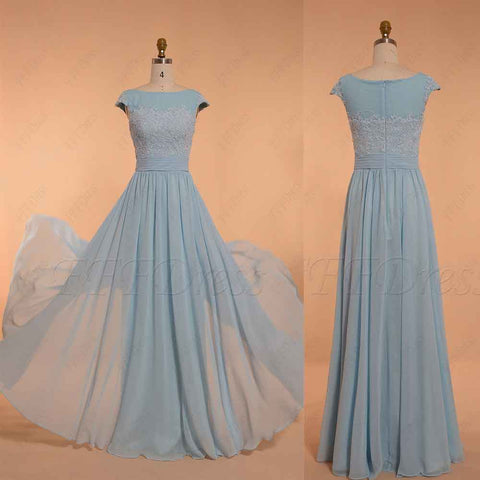 Modest Light Blue Bridesmaid Dress