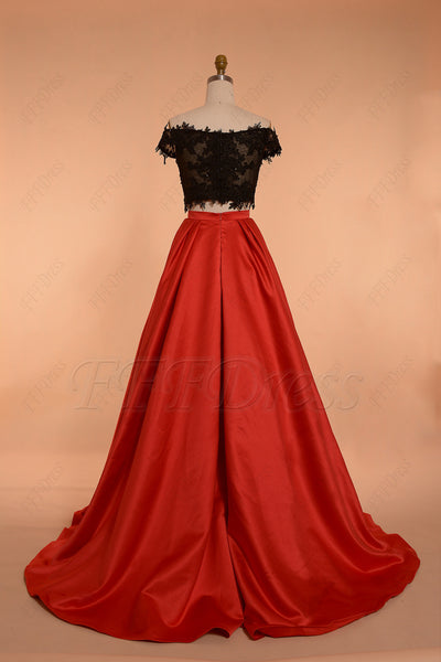Off the shoulder Two Piece Prom Dress Ball Gown Red Black