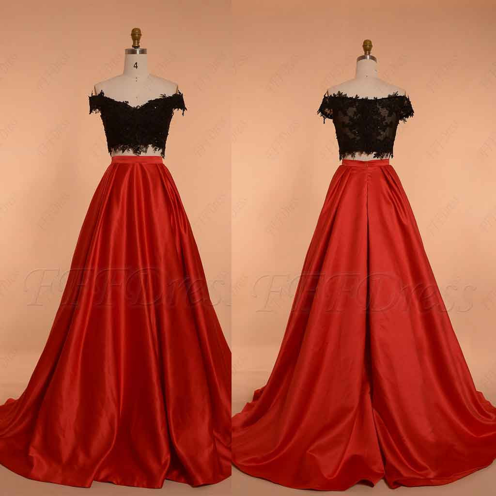 Off The Shoulder Two Piece Prom Dress Ball Gown Red Black Mypromdress