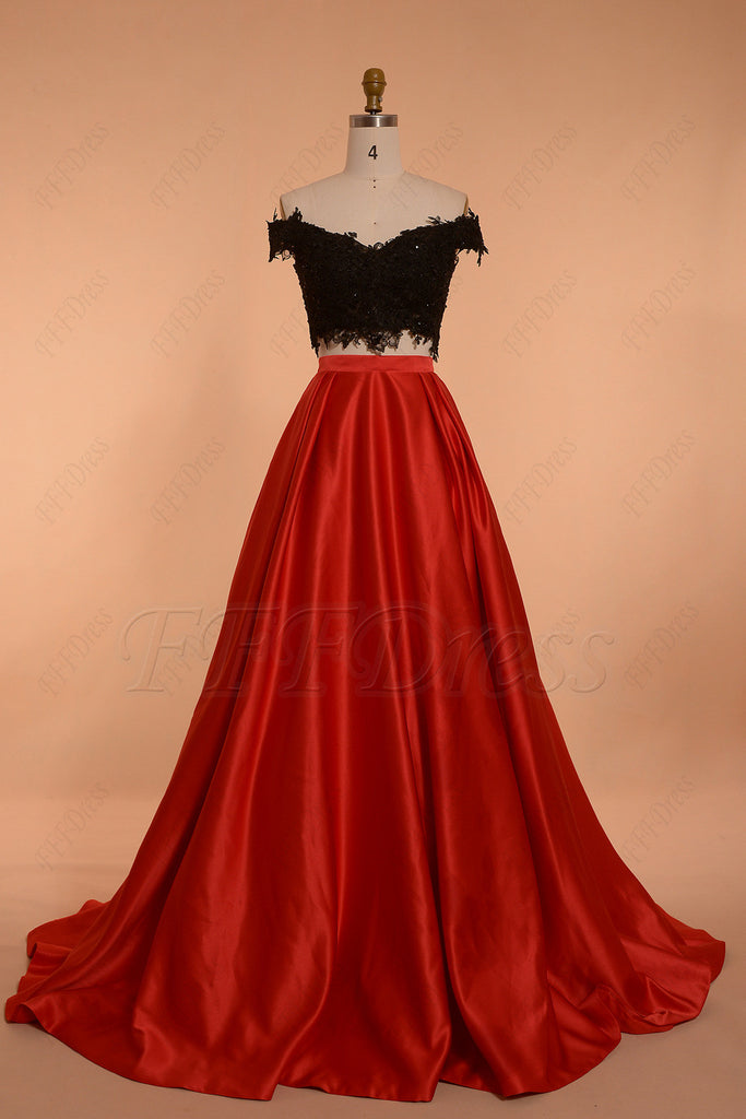 Off the shoulder Two Piece Prom Dress Ball Gown Red Black – MyPromDress