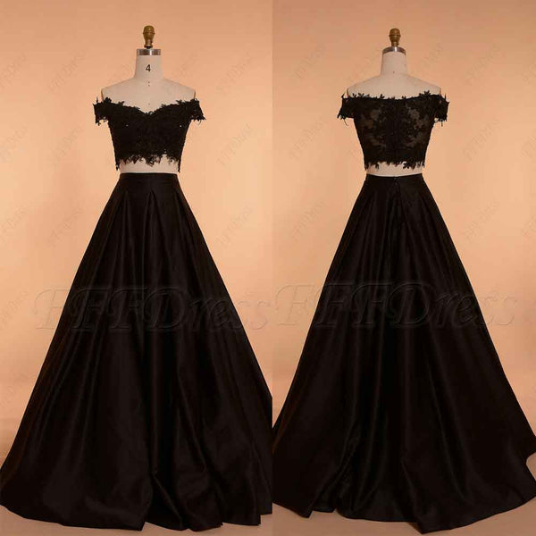 Off the shoulder Black Ball Gown Two Piece Prom Dress Long