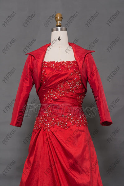 Modest red prom dress with long sleeve jacket