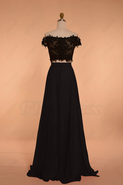 Off the shoulder black two piece long prom dresses