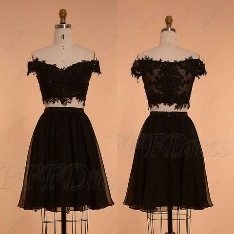 Two Piece off the shoulder homecoming dresses black