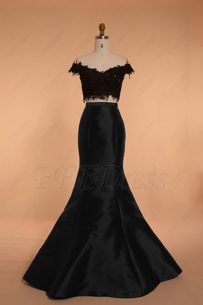 Off the shoulder mermaid black two piece prom dress homecoming