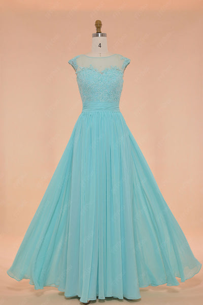 Tiffany blue modest bridesmaid dresses long