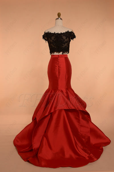Red Black two piece mermaid prom dress long