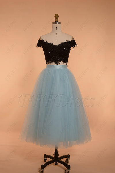 Black light blue two piece prom dresses tea length