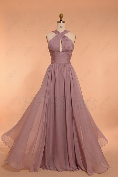 Halter wisteria purple bridesmaid dresses