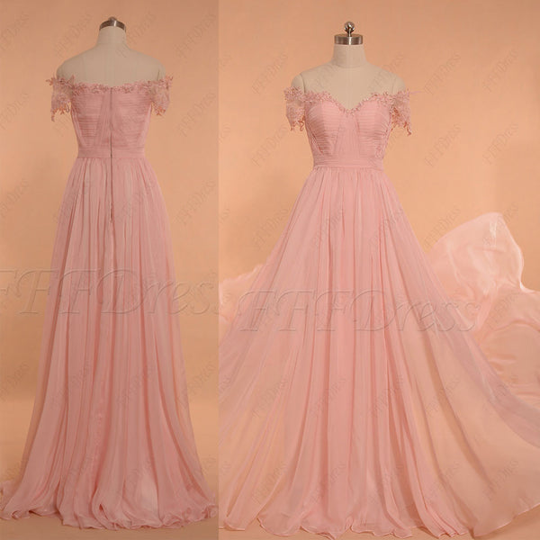 Pearl Pink Off the Shoulder Long Prom Dresses