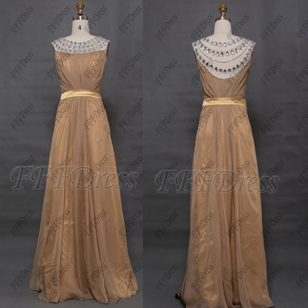 Maid of honor dresses gold bridesmaid dresses with crystals