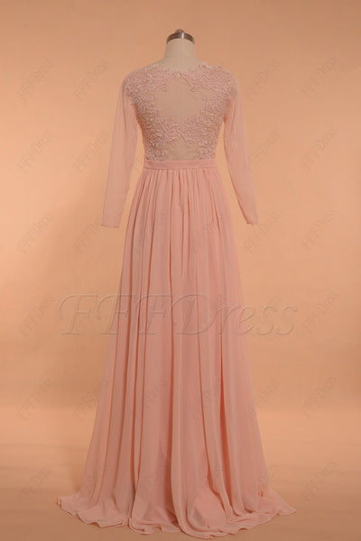 Blush Pink Prom Dresses Lace Long Sleeves