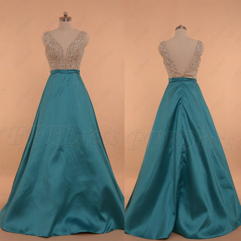 V Neck Crystals Beaded Aqua blue prom dresses long