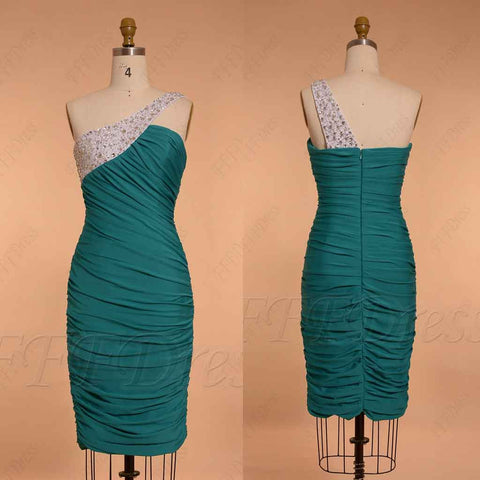 Teal Beaded Homecoming Dresses knee length tight