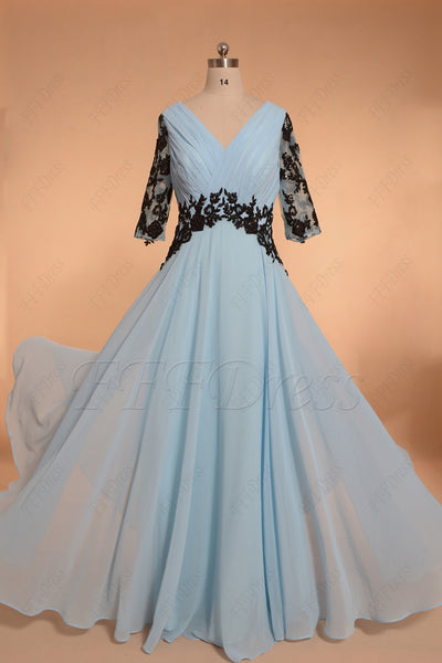Light blue long prom dresses with sleeves
