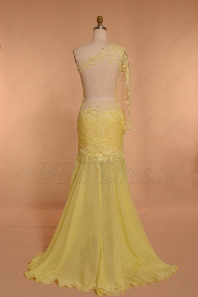 Backless Yellow Mermaid Prom Dresses long sleeve