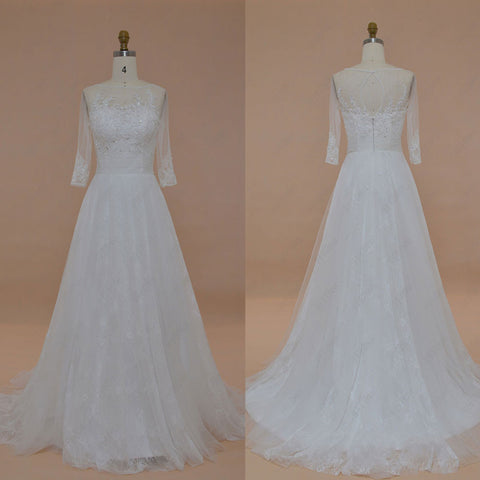 Beaded lace wedding dress with sleeves
