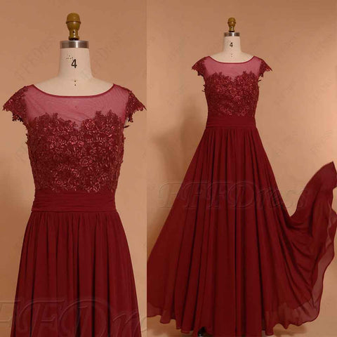 Burgundy Long Prom Dresses Cap Sleeves
