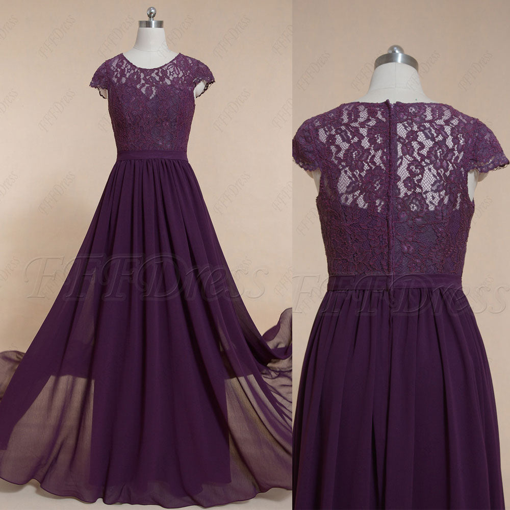 Modest plum purple bridesmaid dresses long