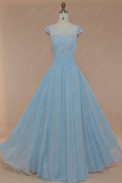 Ice blue lace modest prom dresses long with cap sleeves