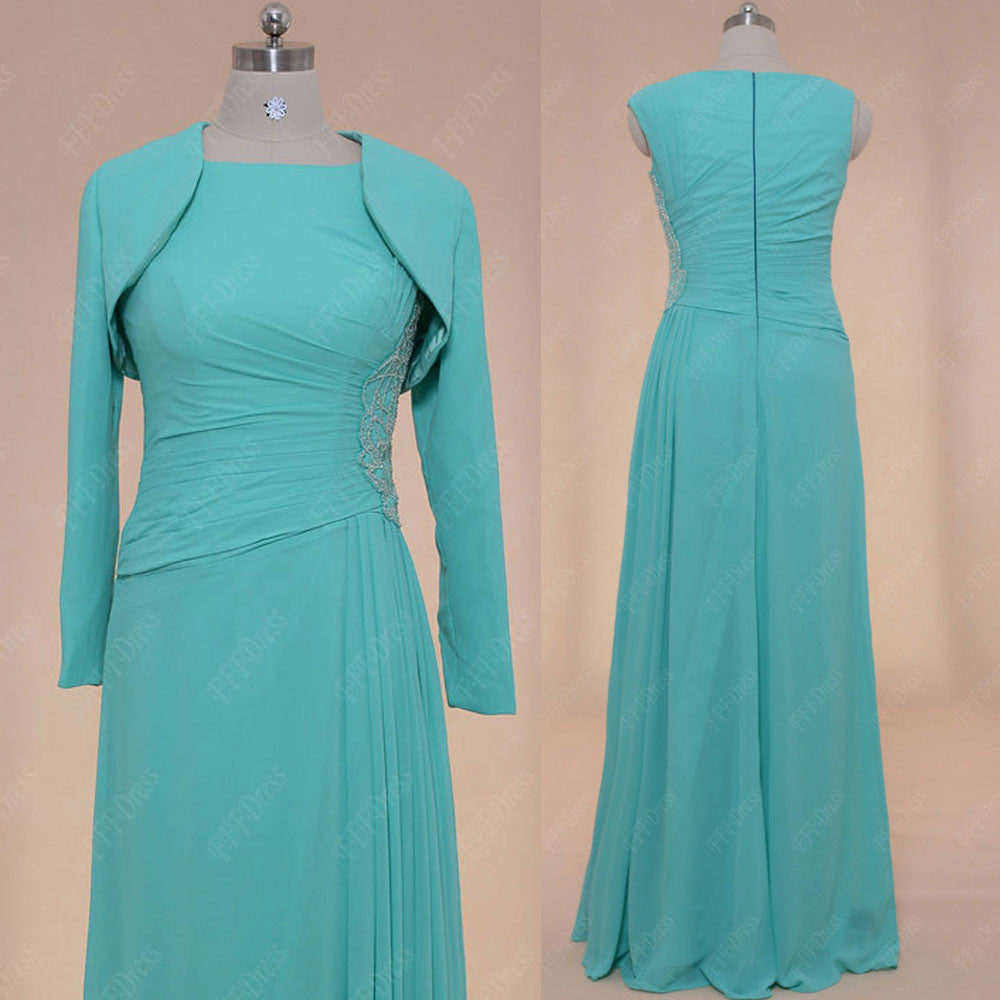 Modest Mint green mother of the bride dress long sleeves bolero