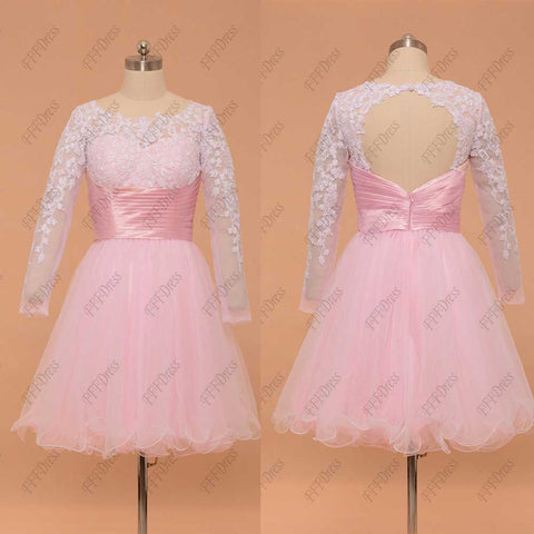 Backless Pink white short prom dresses long sleeves