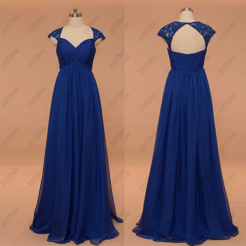 Royal blue maternity bridesmaid dresses cap sleeves