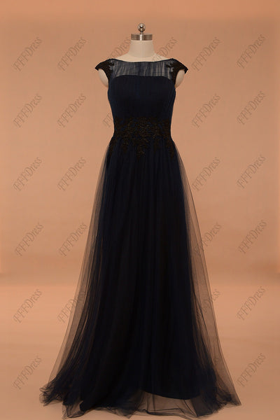 Navy blue long prom dresses with capped sleeves