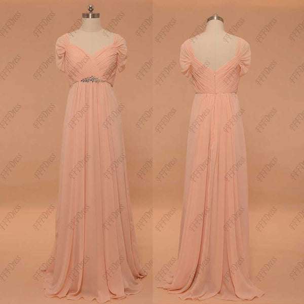 Peach maternity bridesmaid dresses capped sleeves