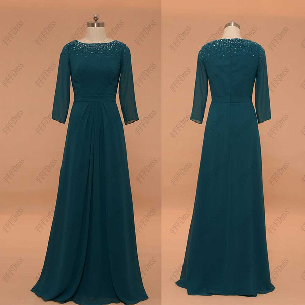 Modest Teal Mother of the Bride Dress with Sleeves