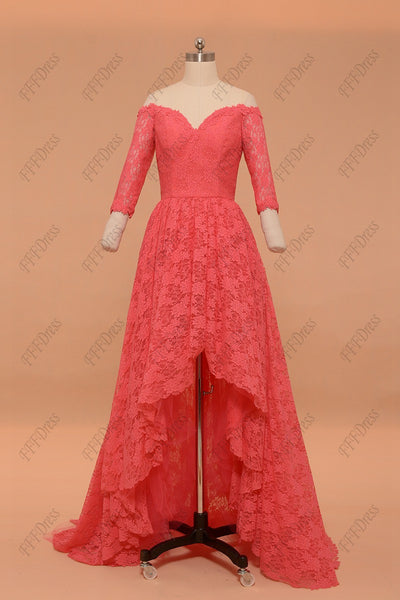 Hot pink high low prom dresses with sleeves