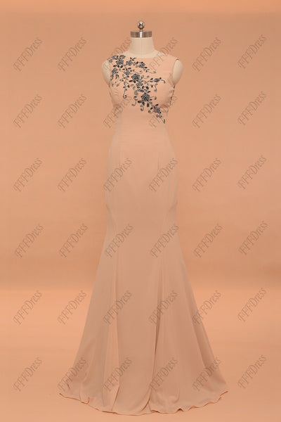 Mermaid Champagne evening dresses formal dress