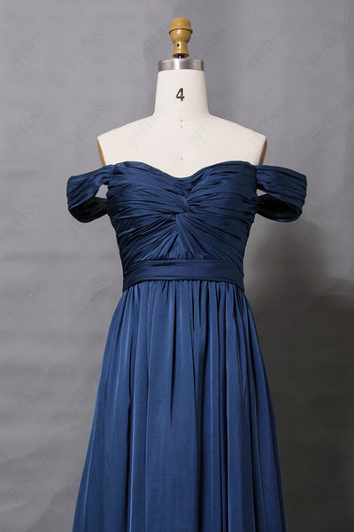 Navy blue off the shoulder prom dress long formal dress