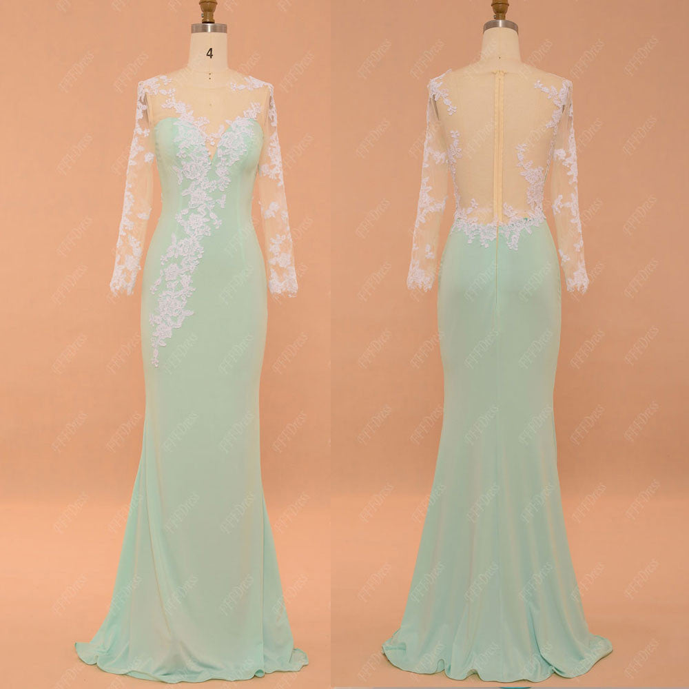 Mint green mermaid backless prom dress long sleeves