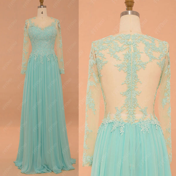 Backless Light Blue Modest Prom Dresses Long Sleeves