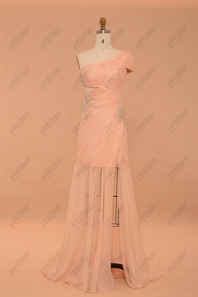 Peach cut out sparkly prom dresses with slit