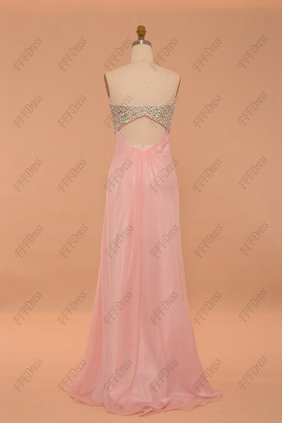 Crystal cut out prom dresses pink