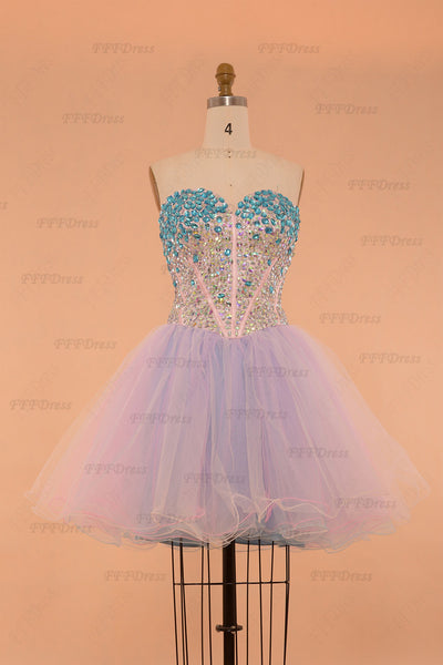 Sparkle Crystals Pink Blue Unicorn Short Prom Dresses poofy homecoming dresses
