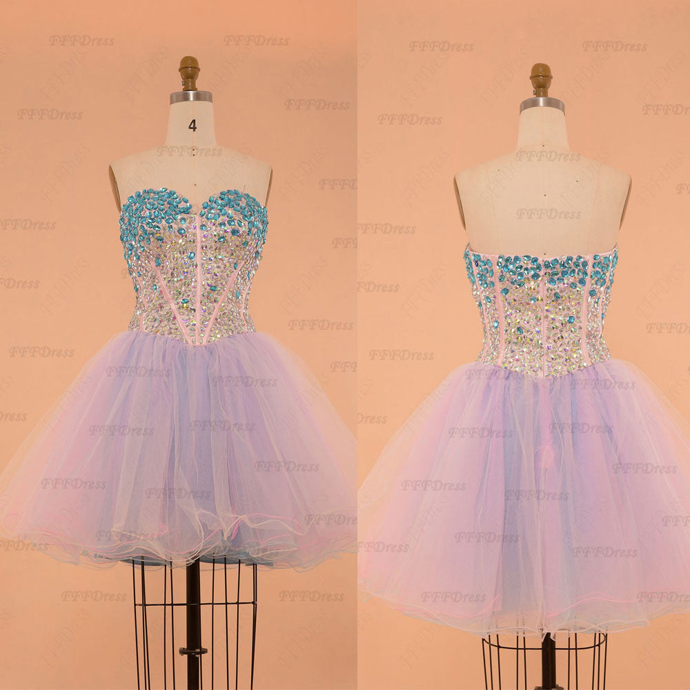 Sparkle Crystals Pink Blue Unicorn Short Prom Dresses Poofy