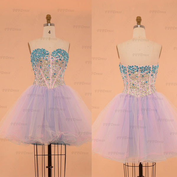 Sparkle Crystals Pink Blue Short Prom Dresses poofy homecoming dresses